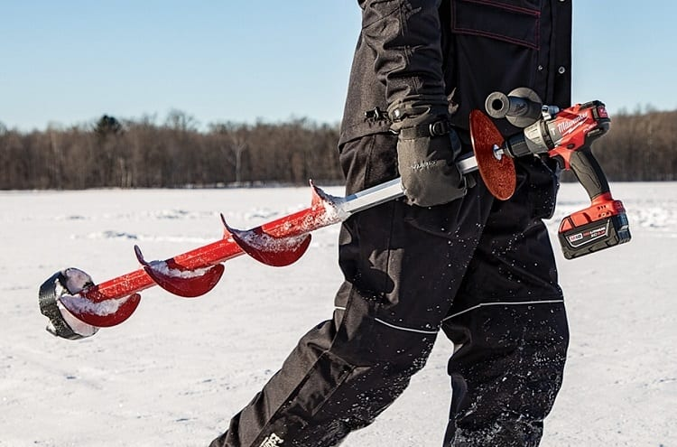 Ice Fishing Auger In Hand